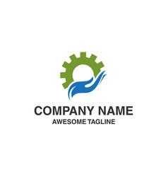 Gear hand care logo vector
