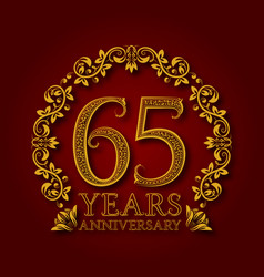 Golden emblem sixty fifth years anniversary vector