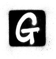 graffiti g font sprayed in white over black square vector image