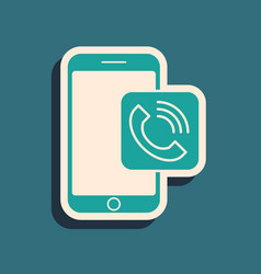 Green mobile phone call icon isolated on blue vector