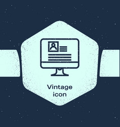 Grunge line computer monitor with resume icon vector