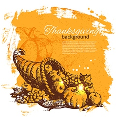 Hand drawn vintage thanksgiving day background vector