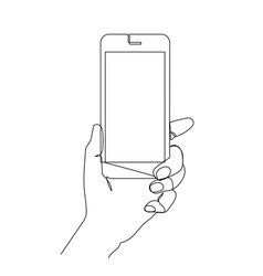 hand holding phone isolated on white vector image