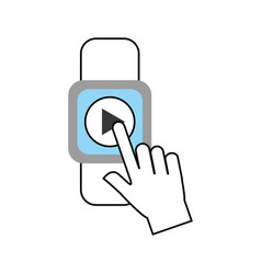 Hand user smartwatch with media player isolated vector