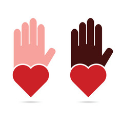 Hands help with heart in red color vector
