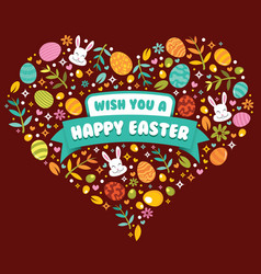 happy easter with love shape vector image