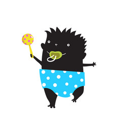 Happy kid monster with nappy rattle and a dummy vector