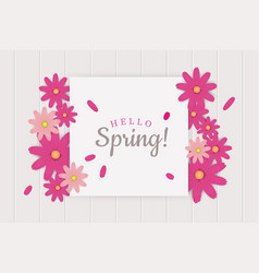 hello spring greeting card decoration vector image