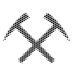 Hexagon halftone mining hammers icon vector