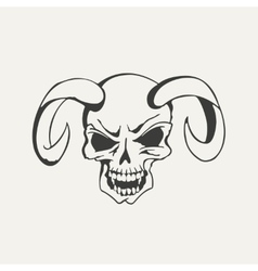 horns with human skull Black and vector image
