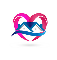 house heart real estate icon vector image