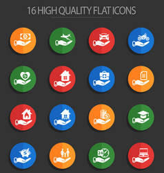Insurance 16 flat icons vector