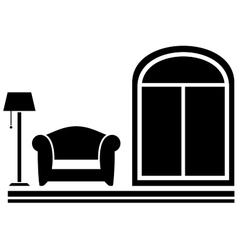 interior icon with armchair floor lamp and window vector image