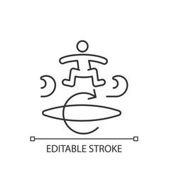 Kickflip surfing technique linear icon vector