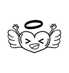 Line happy heart angel kawaii with arms vector
