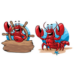lobster cartoon set vector image