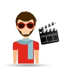 Man hipster concept movie cinema clapper icon vector