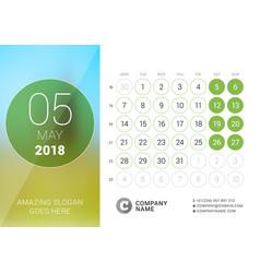 May 2018 desk calendar for 2018 year design print vector