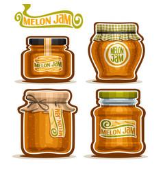 Melon jam in glass jars vector