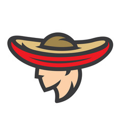 mexican man in sombrero sign vector image