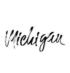 Michigan modern dry brush lettering retro vector