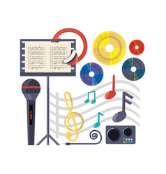 musical concept with microphone amplifier and vector image
