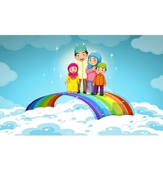 Muslim family standing on the rainbow vector