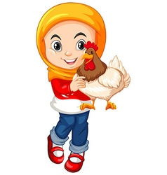 Muslim girl holding a chicken vector image