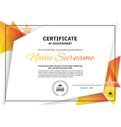 Official white certificate with orange triangle vector