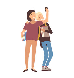 Pair of students holding books and making selfie vector