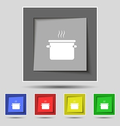 Pan cooking icon sign on original five colored vector