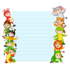 paper template with many kids wearing animal vector image