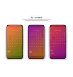 Phone autumn kit three vector