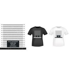 police mugshot stamp and t shirt mockup vector image