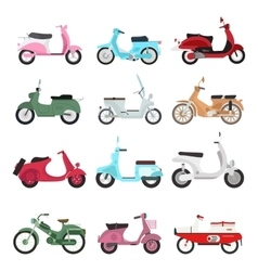 Retro motorbike set vector