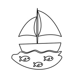Sailboat sea isolated icon vector