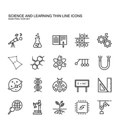 Science and learning simple thin line icon set vector