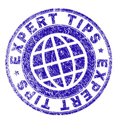 Scratched textured expert tips stamp seal vector