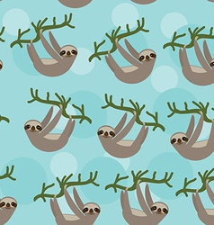 Seamless pattern Three-toed sloth on green branch vector