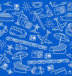 Seamless pattern with hand drawn travel icons vector