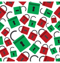 security red and green padlock seamless pattern vector image