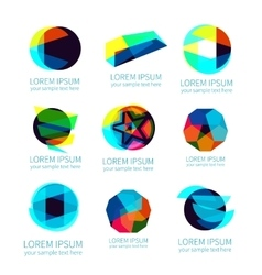 set different abstract logotypes vector image