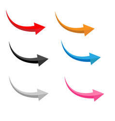 set glossy arrows on white background flat vector image