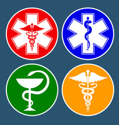 Set medical international symbols decorated in vector