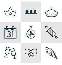 Set of 9 christmas icons includes butterfly knot vector