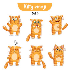 Set of cute cat characters set 5 vector