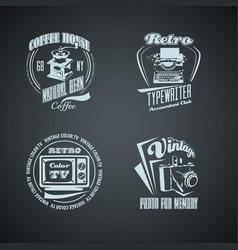 set retro monocrome vintage logotypes vector image