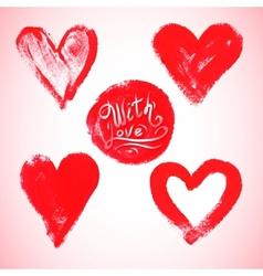 Set watercolor red heart vector