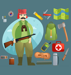 set with a hunter and inventory vector image