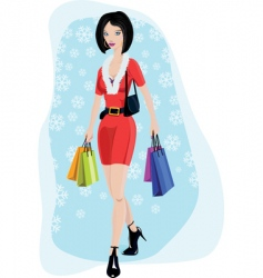 Sexy young lady shopping vector